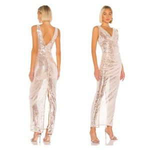 REVOLVE Lovers + Friends Sequin Gown in Sheer Pink